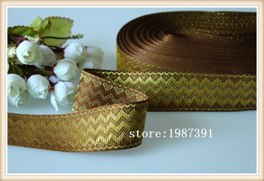 10yards/lots Woven Jacquard Ribbon 3.3cm brown background gold save geometric pattern LS-6574