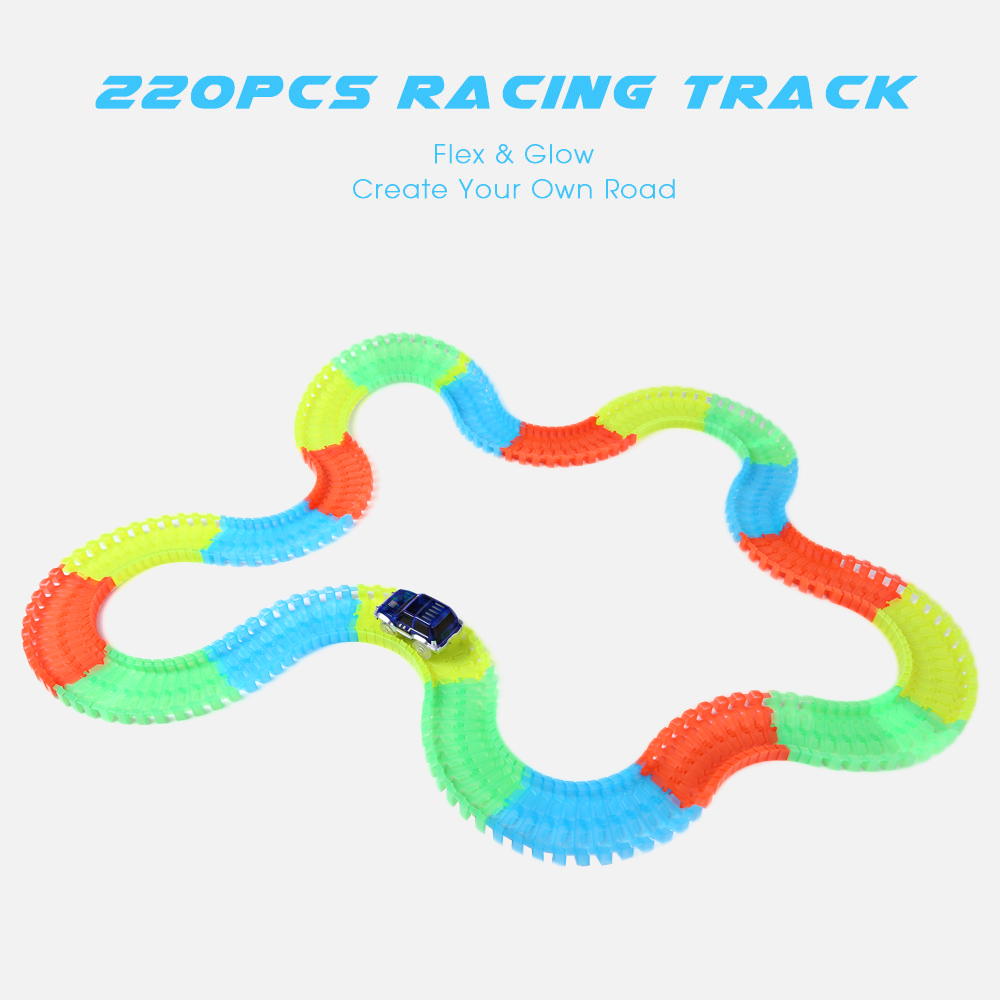 96PCS Racing Track with LED Car DIY Luminous Racing Track Assembly Twister Car Electronics Rail Cars Toys Children ChildrenGifts