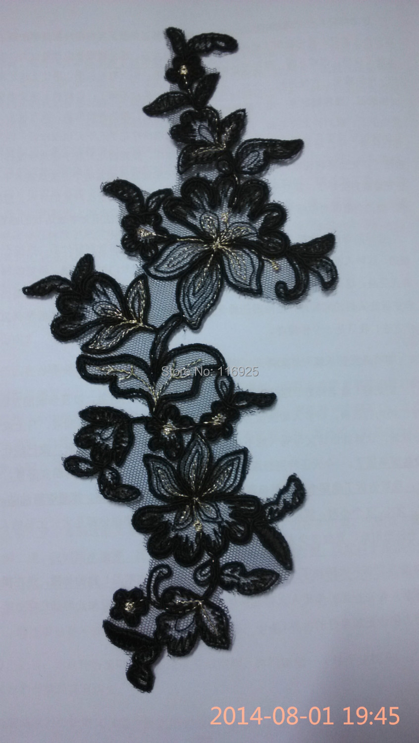 Black Embroidery Lace Motif With Corded and Gold Matallic Thread Embroidery Applique,12 pcs/lot