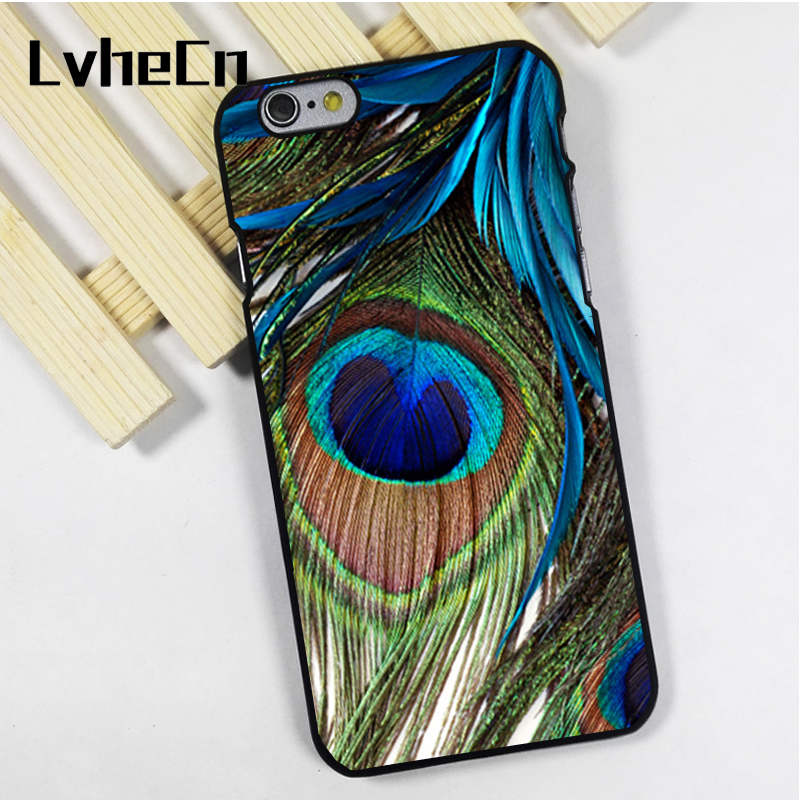 LvheCn telefon kılıfı kapak fit için iPhone 4 4 s 5 5 s 5c SE 6 6 s 7 8 artı X ipod touch 4 5 6 Peacock Feather Close Up