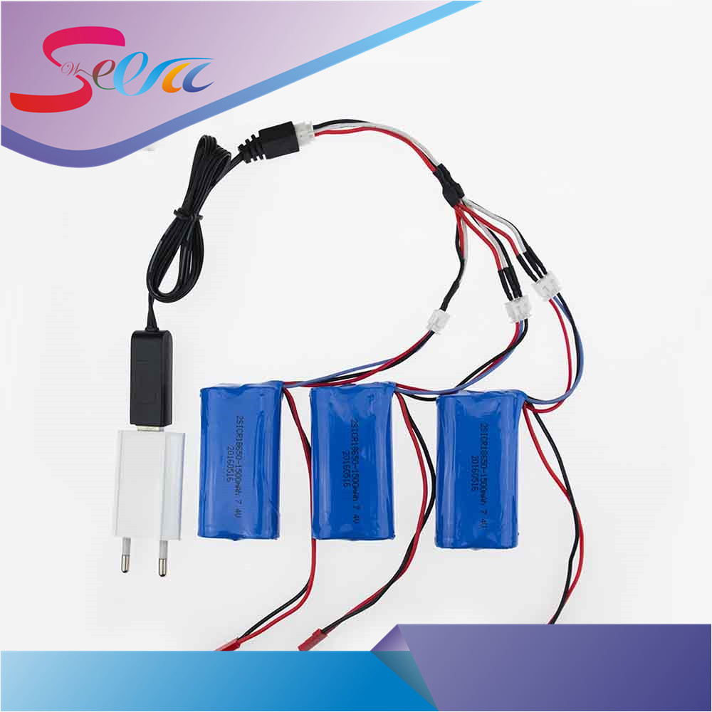 3pcs 7.4 V 1500mah li-po lipo battery With USB Charger Plug 3in1 Cable Set For DH9053 9101mjx f45 9118 rc Helicopter parts